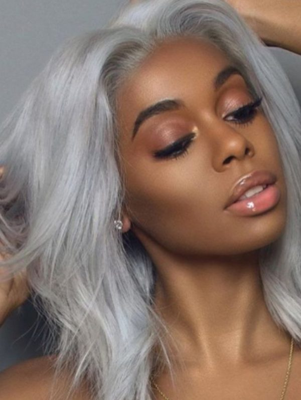 SILVER HUMAN HAIR WIG WITH MIDDLE PART - Eternal Wigs